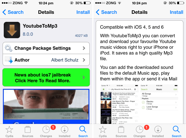 download youtube videos convert to mp3 iphone jailbreak tweak