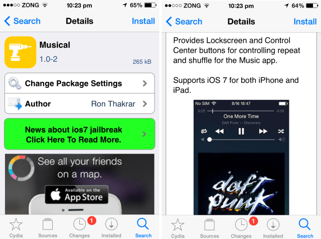 add repeat shuffle buttons to control center lock-screen ios iphone ipod touch cydia page
