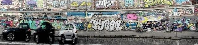 horizontal panorama of a street