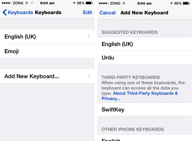 how to change ios 8 keyboard