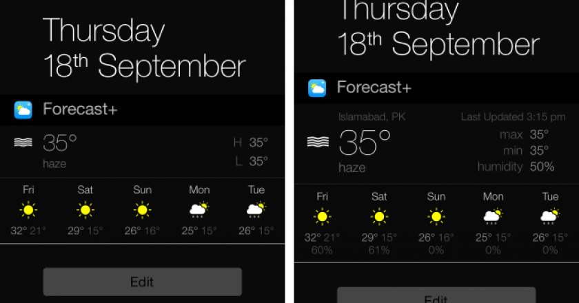 forecast+ best ios 8 weather widget notification center