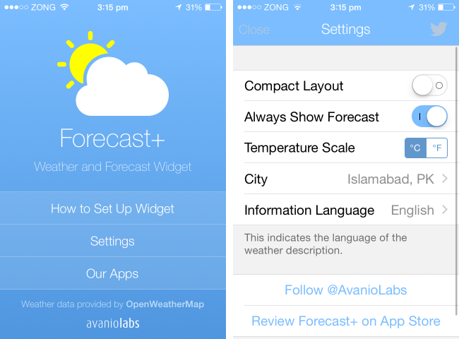 forecast+ best ios 8 weather widget settings
