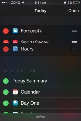 how to re-order widgets in ios 8