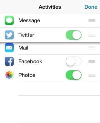 ios 8 share menu sheet add, disable re-order activities