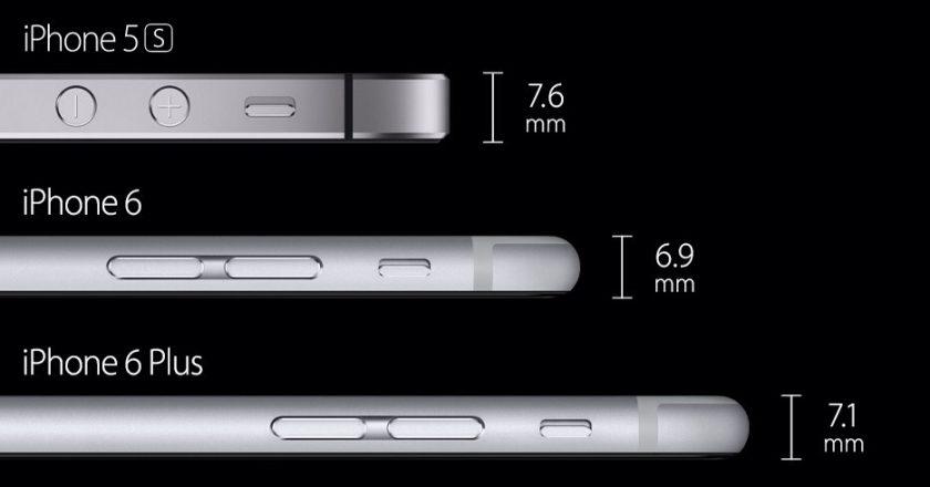 iphone 6 thickness comparison vs. iphone 6 plus vs. iphone 5s