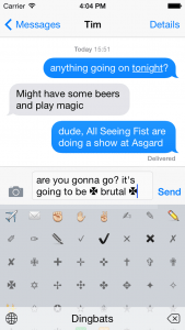 type glyphs with ios 8 glyf keyboard screenshot