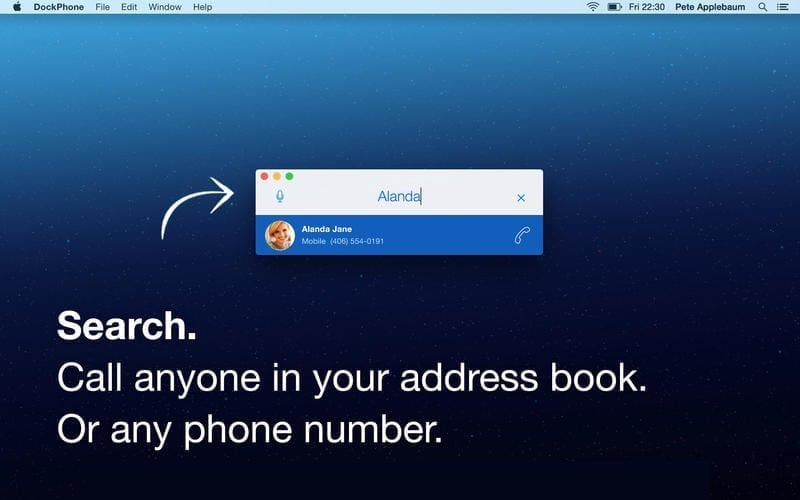 dockphone dedicated phone app search contacts
