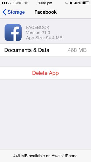 clear documents & data on an app-by-app basis