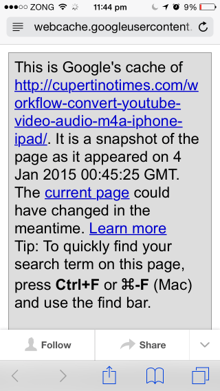 View Google Cache Of Any Web Page From Safari / iOS Share