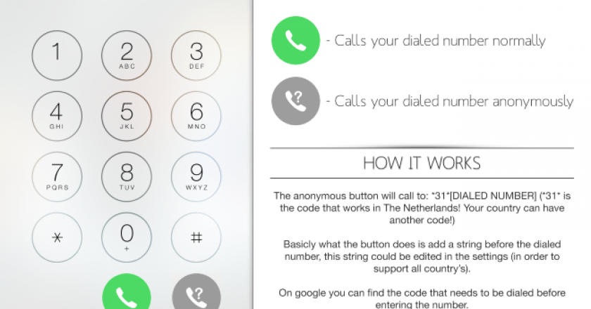 make anonymous calls from iPhone phone app
