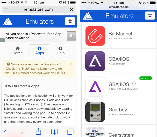 Working Download Link For GBA4iOS 2 1 On iOS 8 1 2 Without Jailbreak