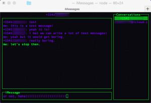 A screenshot of the working imessageclient.