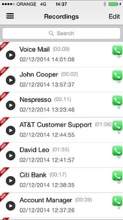 ios call recorder recorded clips