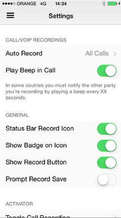 ios call recorder settings