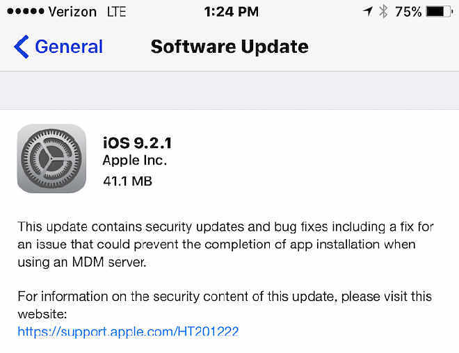 iOS 9.2.1