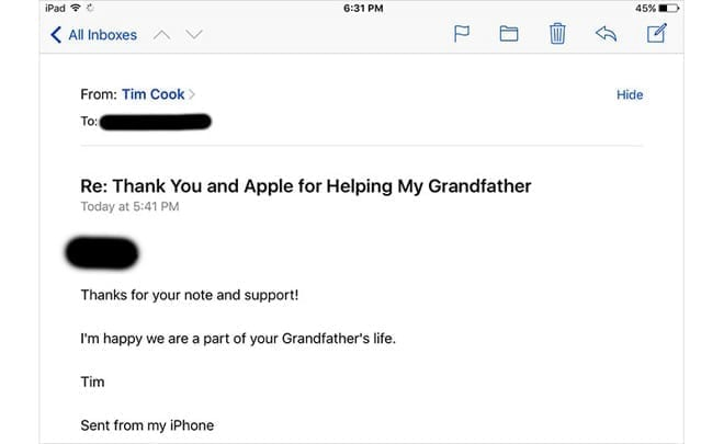 Apple Customer Gets A Reply From Apple CEO Tim Cook CupertinoTimes