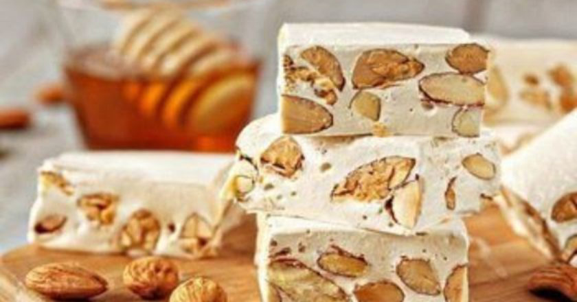 Almond Honey Nougat, Torrone, Italian soft nougat, Italian confections, Soft Nougat almonds Pistachio
