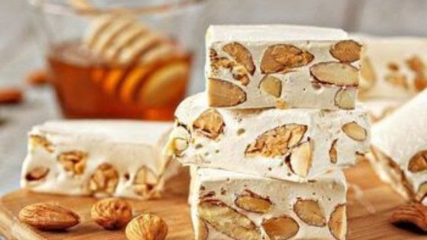 Almond Honey Nougat,Torrone, Italian soft nougat, Italian confections, Soft Nougat almonds Pistachio