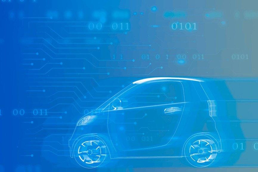 Blue compact hybrid car vector