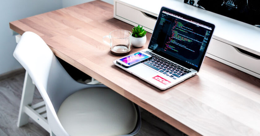 Laptop on desk coding