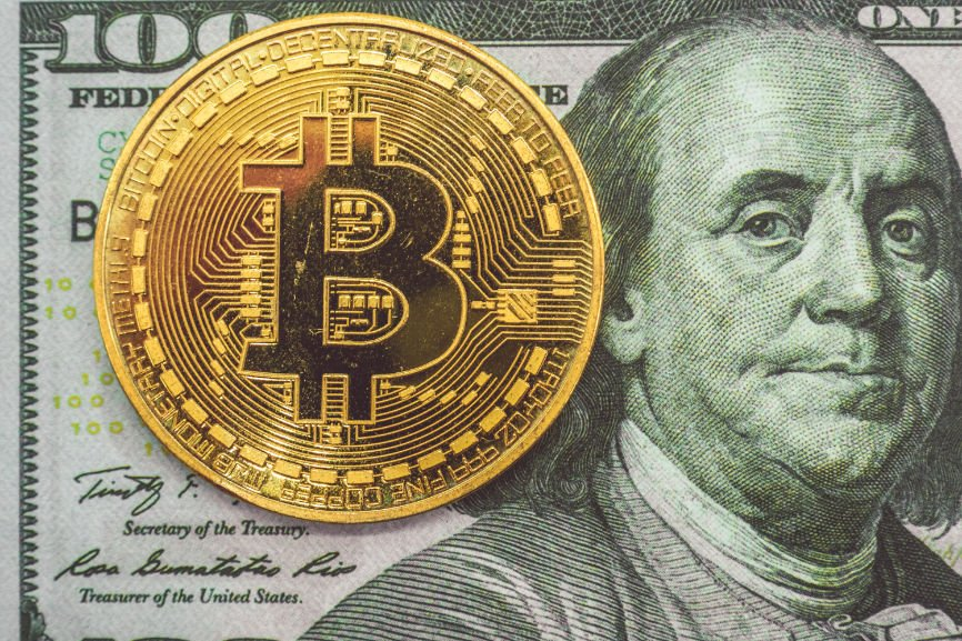 Bitcoin and US $100 Bill