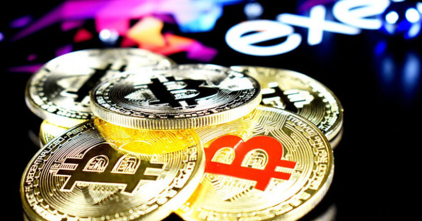 Bitcoins on a black background