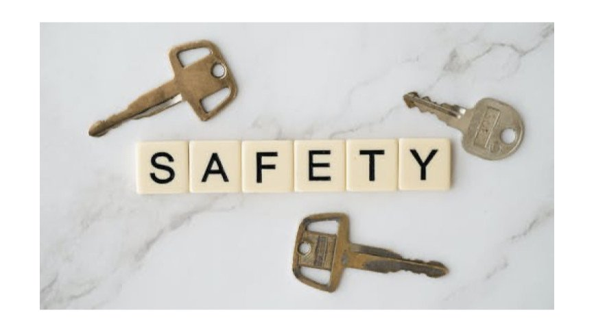 The Word Safety spelled out on tiles and three keys