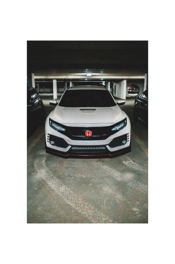 Parked white car in garage