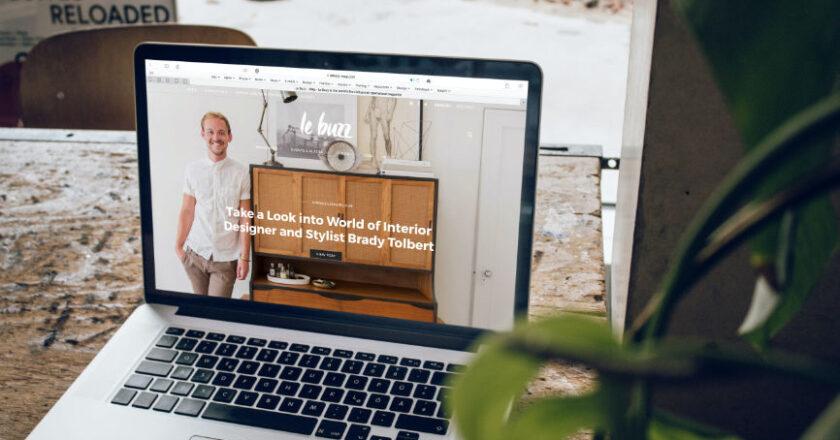 Website displayed on laptop