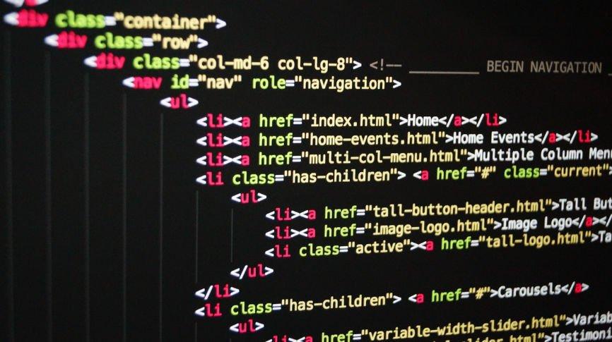 HTML code on screen