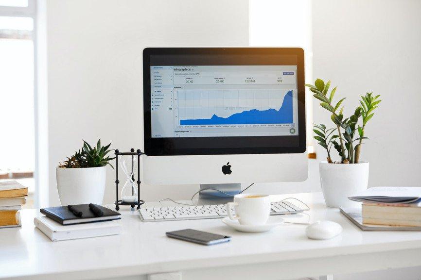 iMac on white desk