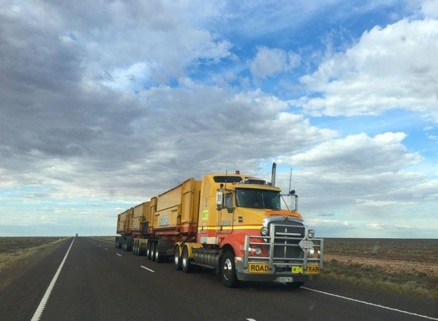Yellow Semi Truck, 18 wheeler
