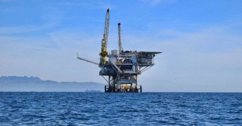 Oil Rig on ocean, Natural Gas