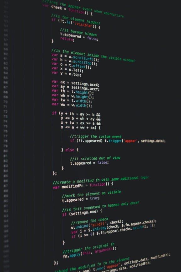 Javascript Code displayed on monitor dark
