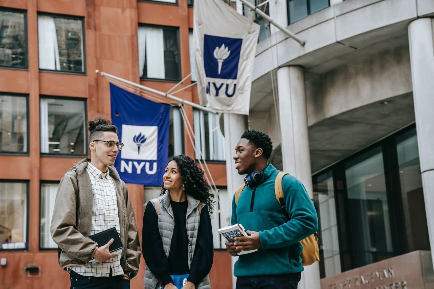 Students in front of NYU, Scholarship