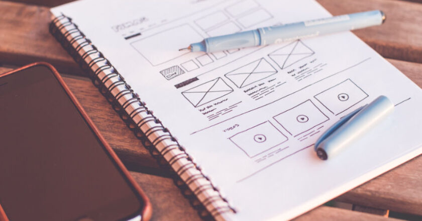 Wireframe design of website on