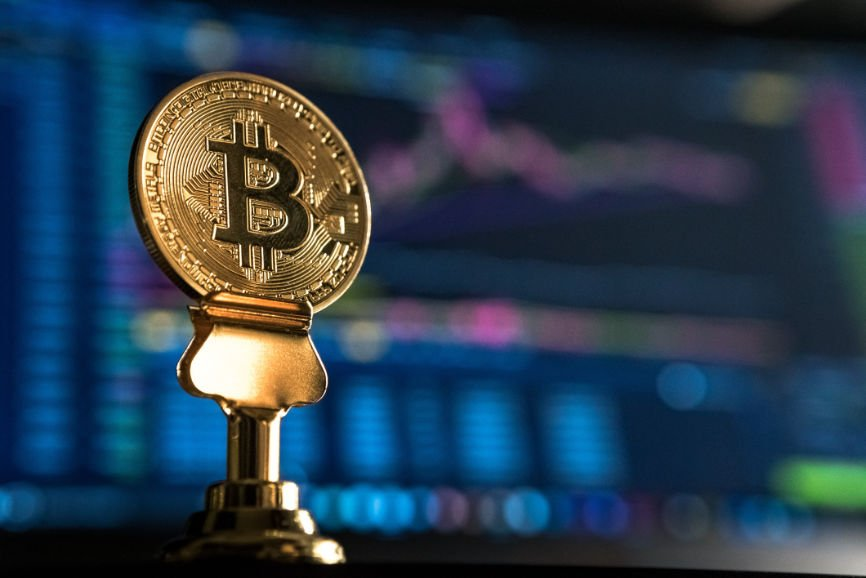 Bitcoin displayed on a blue background