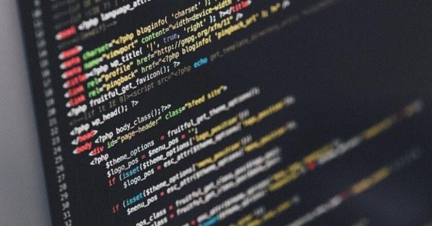Code displayed on computer monitor