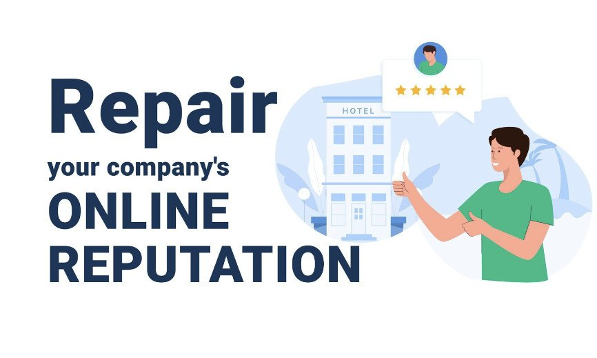 """Illustration of person point to a company with the words """"Repair your company's online reputation"""