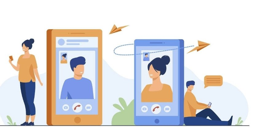 Illustration of people using video chat apps on smartphones