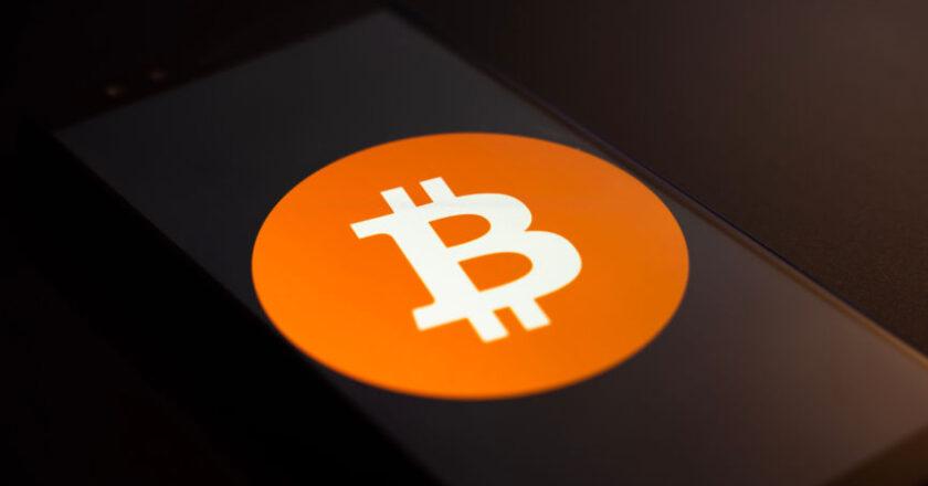 Bitcoin logo displayed on smartphone