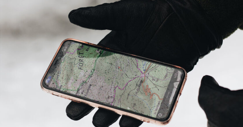 Cell Phone displaying map. Tracking app