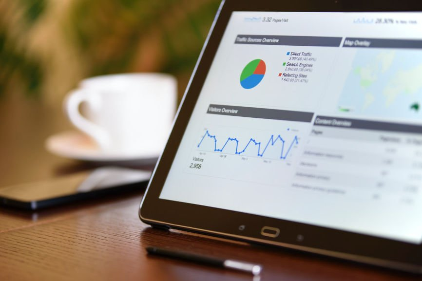 Tablet displaying website traffic