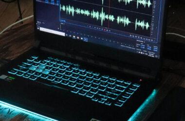 Laptop displaying sound waves