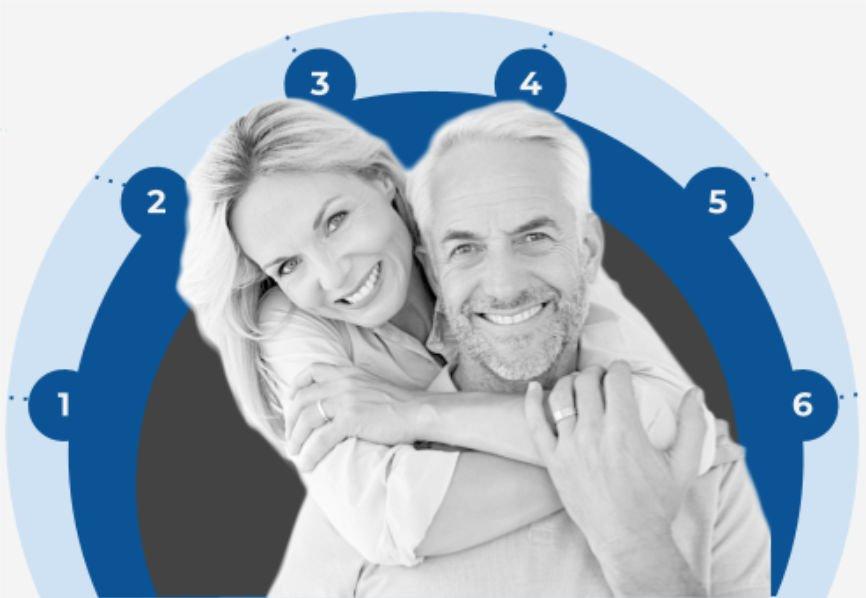 Woman hugging man anticipating retiring happy
