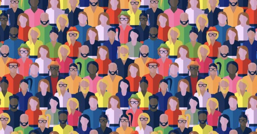 Illustration of a crowd of people representing social media marketing