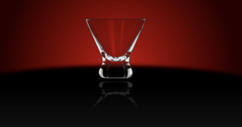 Glass on a deep red background