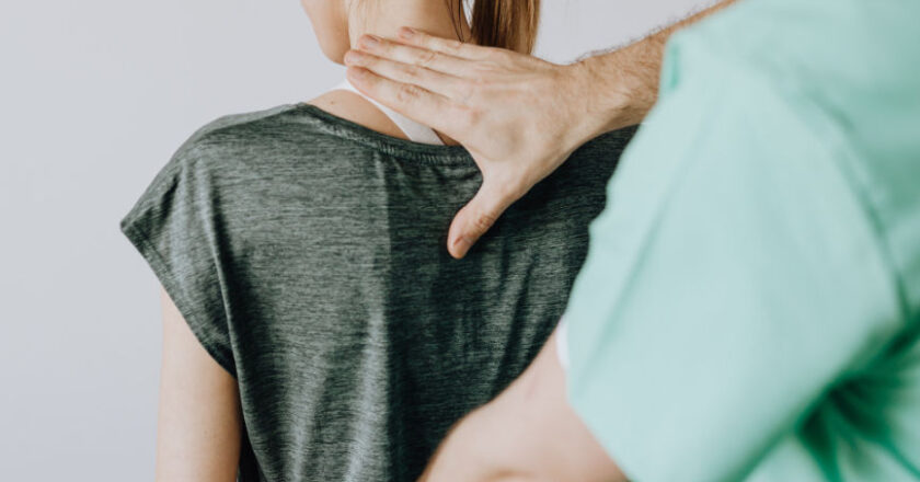 Chiropractor and patient