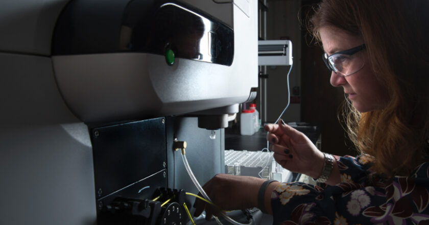 Woman using a spectrometer