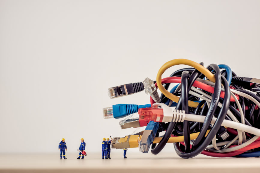 Giant ethernet cables and tiny little workers